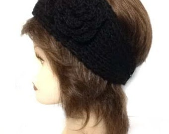 Women's Black Large Crochet Flower Adjustable 2 Button Stretch Headband Ear Warmer Crochet Headband, gift