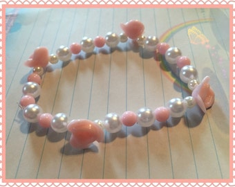 Pink Flower and Pearl Lolita Stretch Bracelet