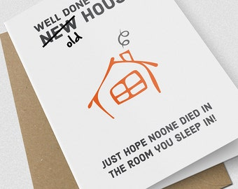New Home Card / housewarming card / comedy / humorous / funny / a5 / white / card / novelty / epic card company / NEWHOMEDIED