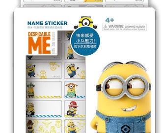 126 Minions waterproof name stickers + Free Minions folder !!!