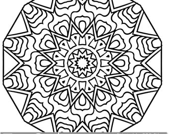 printable coloring pages for adults mandala snowflake pattern pdf jpg instant download coloring book coloring sheet grown ups - Mandala Snowflakes Coloring Pages