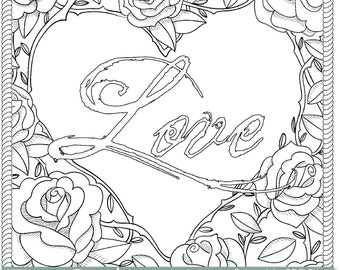 printable rose frame love coloring page for adults pdf jpg instant download love