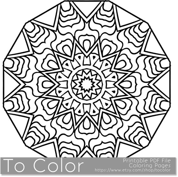 items similar to printable coloring pages for adults mandala snowflake pattern pdf jpg instant download coloring book coloring sheet grown ups on