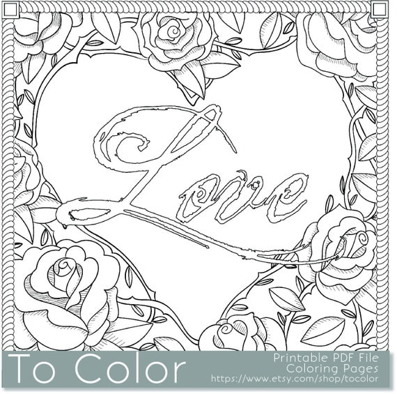 items similar to printable rose frame love coloring page for adults pdf jpg instant download love coloring book coloring sheet grown ups digital stamp