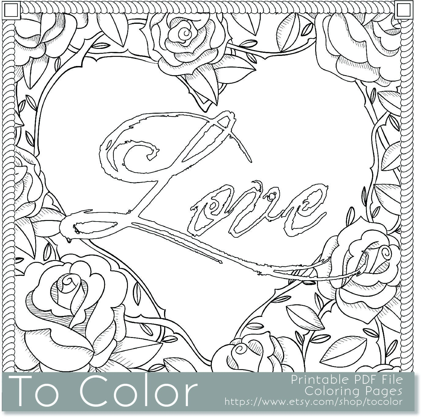 Printable Rose Frame Love Coloring