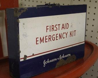 Vintage Johnson & Johnson First Aid Emergency Kit