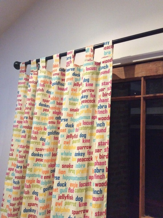 Fun and Unique Child's Tab Top Curtain Drop- Animal Word Print