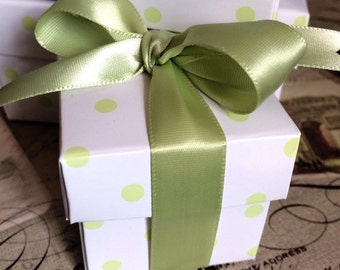 Spring Green 2 Piece Polka Dot Favor Box 2x2 With Ribbon, DIY Favor Box Kit