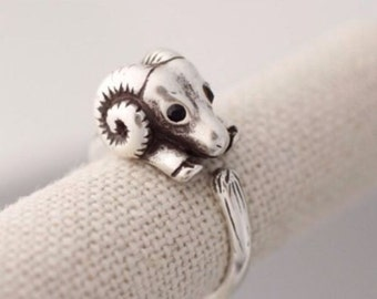 Cute Sheep/Ram Adjustable Wrap Ring
