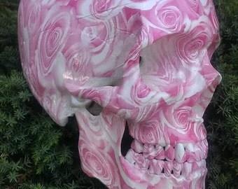 SKULL Pink Valentine skull lifesize ornament rockabilly tiki hotrod metal biker pinup