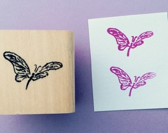 Mini Butterfly wood mounted rubber stamp gently used