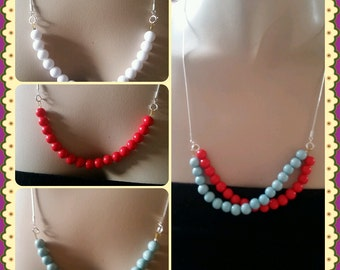 Red necklace,blue necklace red beaded,white necklace ,silver chain,gif for girls,birthday gift,silver jewelry,beaded,colorful necklace