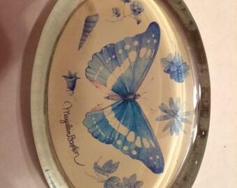 Vintage Marjolein Basin Blue Butterflies Paperweight