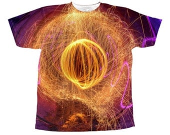 Custom Fractal pattern T-shirt psychedelic trippy tye dye trance optical illusion fractal rave party all over printed T-shirt