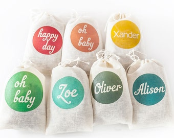 "Custom cotton muslin favor bags. Set of 10.  4x6"". Personalized party favors.  Wedding favors.  Name favor bags.  Word favor bags."