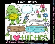 I Love Turtles Digital Clip Art & Black and White Image Set, Commercial Use, Instant Download, Digital Stamp, Line Art, Pet, Reptile, Pond