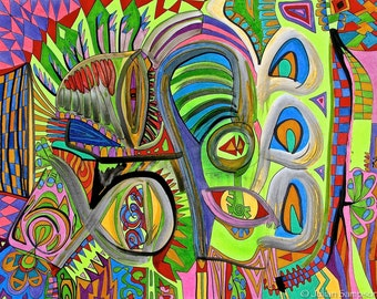 Original Abstract Fine Art Mixed Media India Ink Color Pencil Colorful Drawing Wall Art Home Decor Contemporary Art by Julian Sampson