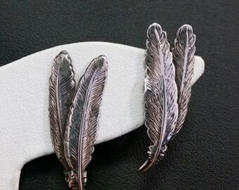 Sterling Silver Screw back Feather earrings