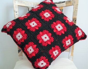"Hand Crocheted ""Granny Square"" Cushion Cover and Cushion"