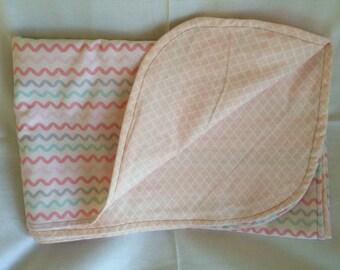Pink Zig Zag baby blanket.
