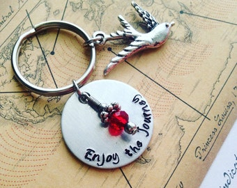 "Travel keychain - Hand stamped ""Enjoy the Journey"" key chain / Travel Jewelry / Going away gift / Bird charm / Graduation gift"