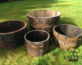 Whiskey Barrel Planter (Multiple Size Options) - Made From Oak Whiskey Barrels. Perfect Plant Containers
