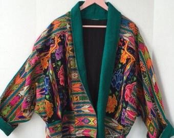Ethnic tribal kimono style coat, large-xl, heavy