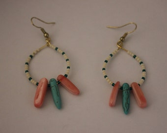 Beaded Gold Hoop Earrings with Coral and Turquoise Spears