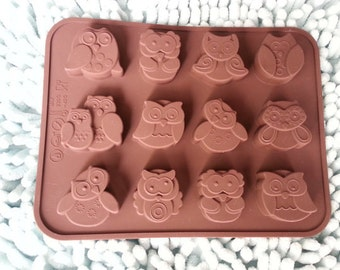 soap mold 12-owl Cake Mold Flexible Silicone Mold polymer clay mold Resin Mold Biscuit Mold mould fimo mold Cookie Mold