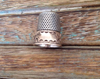 Vintage Sterling Silver Two-Toned Victorian Thimbe size 7