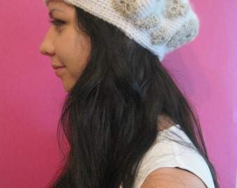 DISCOUNT Handmade crochet beret. Irish crochet with applications. Made of white mohair. Warm and comfortable Women wool hat.