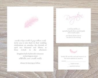Feather Minimalism Wedding Invitation Set - Printable PDF/JPG file ONLY!