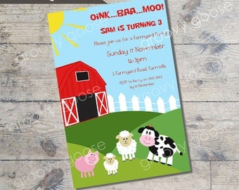 Farmyard Theme Kids Party Invitation DIY Printable farm theme party printable invitations Personalised invitation