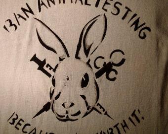 Ban Animal Testing hand stencilled T-shirt
