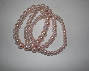 Light Pink Pearl  Bracelet Set,  Pink Pearls, Beaded Bracelets, Bracelet Set, Pearl Bracelets, Pink Bracelets, Pearl Bracelet Set
