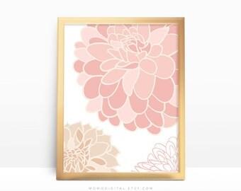 SALE -  Pink Dahlias Flower, Flower Print, Floral Poster, Dahlias Poster, Modern Print, Pink Tan Beige, Large Flower, Spring