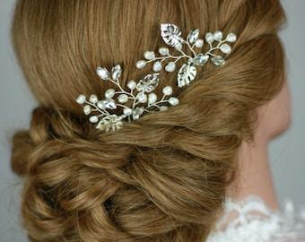 bridal hair pins, silver leaf, freshwater pearl hair pins, bridal hair accessoire