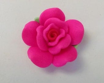 1 Clay Hot Pink Rose Cabochon Embellishement Flatback Jewelry Supplies 30mm Beads
