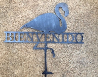 Custom metal flamingo yard art wall decor personalized name or word of your choice