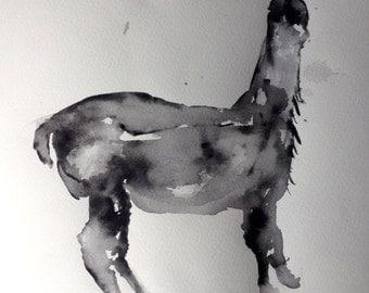 "Original Watercolour Painting ""Llama"" on Fabriano paper"