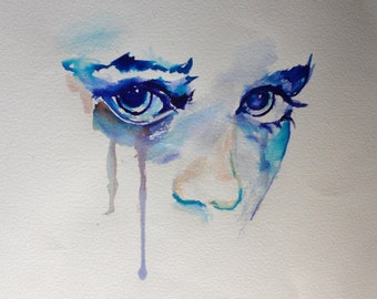 """Original Watercolour Painting """"Crying Girl"""" on Fabriano Paper"""