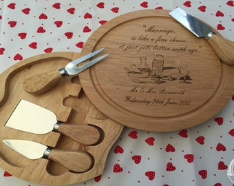 Laser Engraved Personalised Cheese Board Ideal For Wedding or Anniversary Gifts