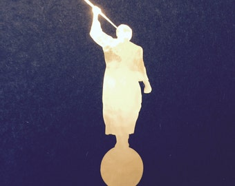 The Angel Moroni Decal in Gold Chrome ~ LDS Car Window Phone Bible Book of Mormon Sticker