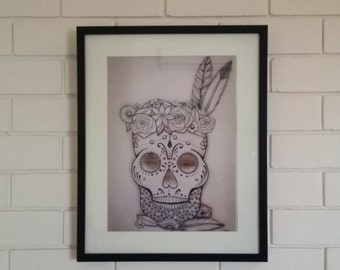 Feather Skull Print