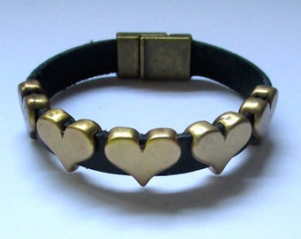 Brass Hearts Adorning Black Leather Bracelet