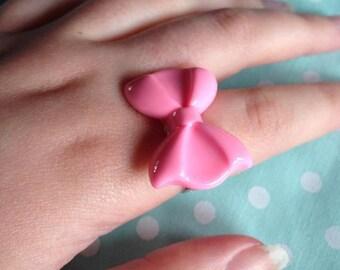 Kawaii Pink Bow Adjustable Ring