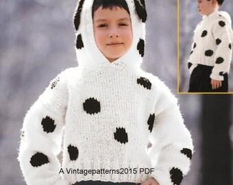 "Dalmatian Pullover Knitting Pattern  30-34""   PDF Download"