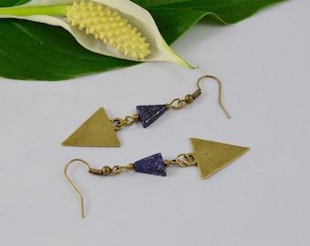 Lapis Lazuli & Brass Triangle Drop Earrings
