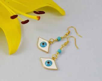 Enamelled Golden Eye Bead Earrings