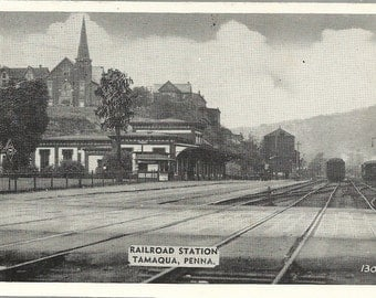 Postcard 1946, Railroad R. R. Station Depot, Tamaqua, Pennsylvania, PA